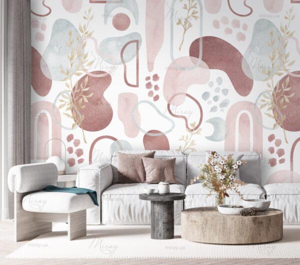 Абстрактный рисунок серо-розовый