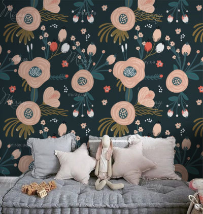 d-14-044-Цветы розовые на черном фоне вектор_RR-interior