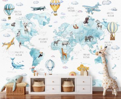 d-02-066-Карта акваерльная с животными голубая
